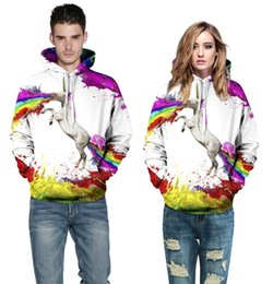 Barato Ternos Da Trilha Dos Hoodies Dos Homens-Unisex mulheres / homens cavalo animal arco íris Hoodie 3d Hoodies Pullover Tracksuit Top Sweatshirt Casual Sport Tops Track Sweat Suits Frete grátis