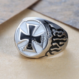 Rings Flaming NZ - Jewelry Stainless Steel Black White Enamel Fire Flame CrossBiker Ring Silver Fashion