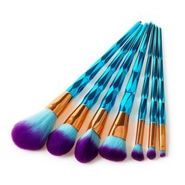 blue synthetic hair UK - 7 10 pcs set Spiral Diamond Makeup Brushes Professional Make up Brushes with Blue Diamond Handle Makeup Brush Kit for Face Makeup Eyeshadow