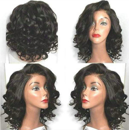 cheap afro full lace wigs NZ - Cheap side part wavy bob body wave full lace human hair wigs for black women short curly wavy lace front wigs 10-18inch