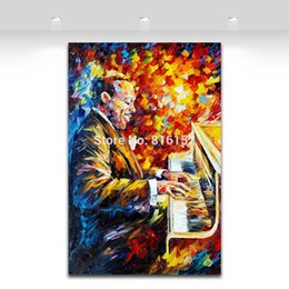 Chinese  Palette Knife Painting Jazz Music Figure Trumpet Guita Soul Play Picture Printed On Canvas For Home Office Wall Decor Art manufacturers