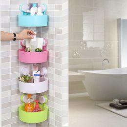 Wall Mounted Bathroom Corner Shelf Sucker Suction Cup Plastic Shower Basket  Kitchen Wall Rack Shower Room Holder Four Colors