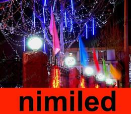 Red Tube Flash Canada - nimi621 Outdoor Waterproof Double Side 80cm 48LED 48 LED Meteor Rain Tube Light Christmas Ornament Lamp Fairy Wedding Flash LED Lighting