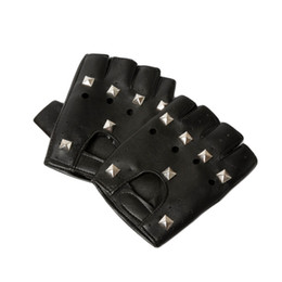 accessories leather gloves Australia - Wholesale-2015 Womens Mens Pu Leather Rivets Half-finger Leather Gloves With Rivets Hip-hop Fashion Ornament Decor Accessories GLV-0025
