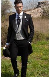 Morning suit sliM fit online shopping - Custom Made Slim Fit Morning Style Groom Tuxedos Peak Lapel Men s Suit Groomsman Best Man Wedding Prom Suits Jacket Pants Tie Vest J990