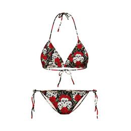 Chinese  FG1509 2015 bikinis set womens swimwear swimming suits bikini 3D flowers skull print beach bathing suits free shipping manufacturers