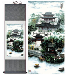 Oil Pictures Silk NZ - 1 Piece Building House Landscape Home Office Decoration Chinese Scroll Silk Wall Art Poster Picture Painting For Living Room