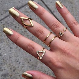 Discount ring stacks - Wholesale-New 5pcs set stacking punk ring geometry Triangle midi ring with crystal women rings CC2364