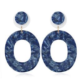 gold earring drops designs 2019 - New Design Fashion jewelry ear hoop acrylic dangle earrings for women Geometric Oval Earrings gift Drop Shipping wholesa