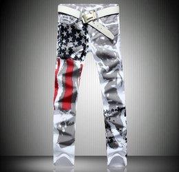 Flag sizes online shopping - Fashion hot mens designer jeans men denim with wings american flag plus size