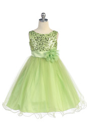 China Gorgeous Lime Sequined Round Neck Tulle Overlaid Girl Dress 2018 kids pageant dresses Flower Girl Dresses infant dresses cheap organza rounds suppliers