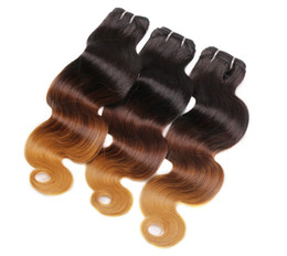1b 27 human hair extensions UK - 8A Honey Blonde Ombre Hair Extensions Three Tone Brown Blonde 1B 4 27 Ombre Indian Body Wave Virgin Human Hair Weave Bundles 3Pcs