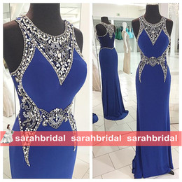 Barato Vestidos De Formatura Promocionais On-line-Amazing Mermaid Prom Verão vestidos com Sheer strass cristais pescoço 2016 Shop Cheap Backless Formal Evening Wear Ocasião Vestidos on-line