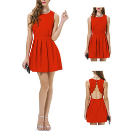 Barato Coreano Mini Saia Sexy-Cocktail Party S5Q Red Womens Mini vestido coreano Evening elegante vestido de Lady Sexy Saias AAADXQ