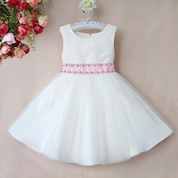 Wholesale Polyester Dress NZ - Summer Girls Party Dresses White Cotton And Polyester Dresses With Pink Belt Girls Princess Dresses GD40418-15