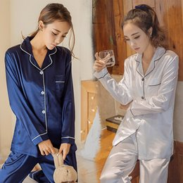 Wholesale free silk clothing resale online - Womens long sleeved pajamas Korean version of the Korean sexy silk suit autumn and winter home clothing