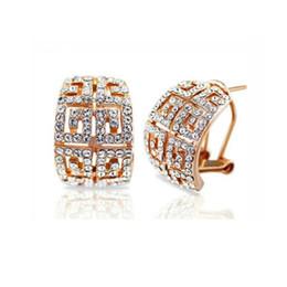 Orecchini placcato in oro 18k con diamanti Orecchini a bottone in oro con strass per donna Orecchini in lega di strass per donna 1273 in Offerta