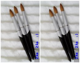 Wholesale New Design Nail Tools Black Metal Handle Kolinsky Round Sharp Professional Painting Nail Acrylic Brush