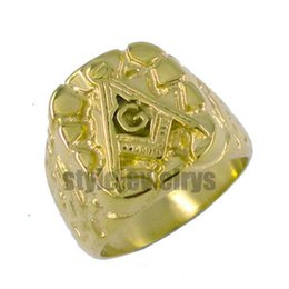 Stainless Steel Motors Canada - Free shipping! Gold Plated Masonic Ring Stainless Steel Jewelry Motor ring Classic Freemasonry Masonic Ring SJR0010GH