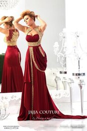 Barato Vestido De Chiffon Vermelho Ouro-2015 Nova chegada jajja-couture Red Evening Dresses Sweetheart Chiffon Runway Vintage ouro bordado cristais Prom Dresses Evening Gowns