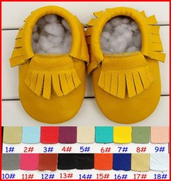 Wholesale Leather Baby Booties Canada - 18Pairs baby fringe moccs wholesale baby gold silver moccasins soft leather moccs baby booties toddler shoes 20colors choose freely 0-2years