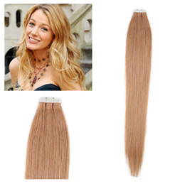 27 pcs human hair extension Canada - ELIBESS HAIR -14''-24'' 100% Indian Human PU Tape In Hair Extensions Skin Weft 2.5g pcs 40pcs&100g pack #27 dark blonde DHL FREE shpping
