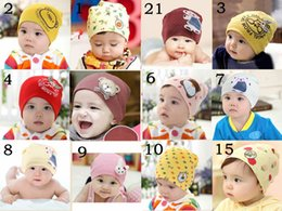 Animal Retail Canada - Retail 0-3 years old boys and girls summer spring baby hats,21 colors cotton animal printed infant caps kids knitted cap