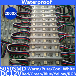 pure white led modules UK - 5050 smd Waterproof led module rgb led modules DC12v 3 chips led light module outdoor hard led bar for advertising Warm pure cool White RGB