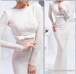 sash ties 2019 - Vintage Myriam Fares Winter Evening Dresses Long Sleeves Lace Mermaid Arabic Mother Dresses with Pearls Bow Tie cheap sa