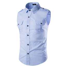 Wholesale shirts more for sale – custom Summer New Explosion Paragraph More Color Insignia Design Sleeveless Casual Men S Shirt Solid Color Chemise Homme A35