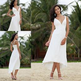 $enCountryForm.capitalKeyWord Canada - Short Beach Wedding Dresses For Bride A Line Tea Length Ruched Chiffon Bridal Gowns Plunging Neckline Wedding Gowns Stylish Cheap Customize