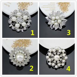 wholesale rhinestone brooches Australia - Luxury Women Pearl Brooches 4 Styles Sparkly Silver Clear Rhinestone Crystal Diamante Flower Pins Wedding dress Pin Brooch 1.3 Inch