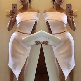 One piece dresses knee length cOcktail online shopping - Unique One Shoulder Sheath Mini Cocktail Dresses Popular Two Pieces Split Short Party Prom Gowns Women Special Occasion Wear Formal