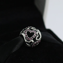 Silver Falls Canada - 925 Sterling Silver Falling in Love Bead with Pink Cz Fits European Pandora Jewelry Bracelets Necklaces & Pendants