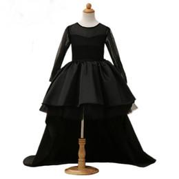 89d4eb5d 2018 Vestidos de niña de las flores negras de alta Scoop bajo manga larga  palabra de longitud Satén tul vestido de bola niños vestidos de fiesta de  la boda