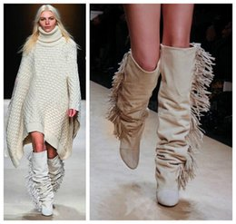 Ladies White Rubber Boots Canada - 2016 New Europe nightclub fashion white suede pointed toe ladies long boots side fringe Tassels high heel slope boots