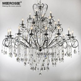 large 28 arms wrought iron chandelier crystal light fixture chrome lustre de sala crystal hanging lamp md051 l28 - Wrought Iron Chandelier