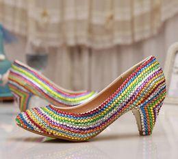 a6c4c88e7581 Women Wedding Shoes Platform Pump Sexy Thin Handmade Heels Rainbow Crystal  Bridal High Heel Shoes Graduation Party Prom Shoes