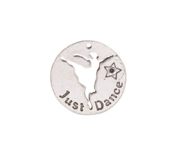 Chinese  New arrive 10PCS Antiqued Silver Metal Just Dance Round Charms #92024 manufacturers