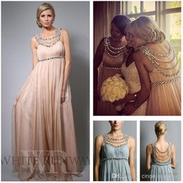 cheap nude chiffon bridesmaid dresses 2019 - Cheap Chiffon Beach Bridesmaid Dresses Scoop Empire Full Length Evening Gowns Plus Size Party Maternity Pregnant Dress J