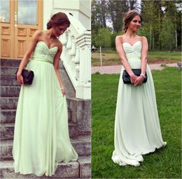 Vestido Largo Modest Sweetheart Baratos-Sweetheart Fruit Green largo de una línea de gasa plisados ​​vestidos de dama de honor Sash Modest Simple formal Bridesmiads vestido /