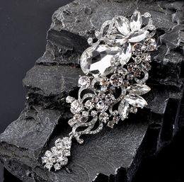 Huge rHinestone broocHes online shopping - 4 Inch Huge Size Clear Rhinestone Crystal Dangle Drop Diamante Wedding Brooches
