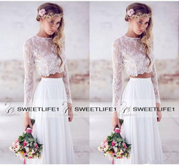 Discount pretty hot dresses - 2019 Hot Sale Two Pieces Lace Top Chiffon Skirt Beach Wedding Dresses White Ivory Ruched Long Sleeves Lace Bridal Gowns