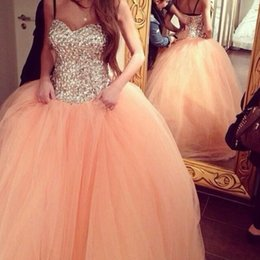 lilac rhinestone prom dress 2019 - Gorgeous Sweetheart Quinceanera Dresses Ball Gowns 2016 Backless Rhinestones Tiers Tulle Coral Sweet 16 Prom pageant Gow
