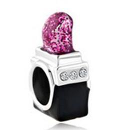 Chinese  Nice Looking Elegant Rose Pink Girls' lipstick Beads Charms in glitter rose enamel Fit Pandora Charm Bracelet manufacturers