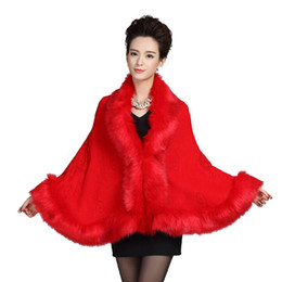 shawl collar long wool coat Canada - Womens Leather Grass Fox Fur Collar Poncho Cape Bridal Winter Wedding Cloak Dress Shawl Cape Lady Wool Vest Fur Coat DN001