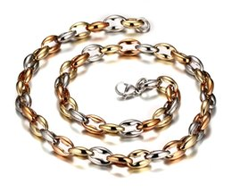 $enCountryForm.capitalKeyWord UK - New Arrival Popular 88g Men's 316L Stainless steel Coffee Beans Bone Link Chain Necklace Silver  Rose Gold  Gold Three Colors