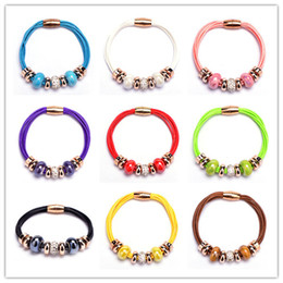 Gold Pans Wholesale Canada - New Crystal European Bead Pan Charm Bracelets Rose Gold Leather Bracelet with Magnetic Clasp Jewelry Christmas Gift in Bulk Cheap!