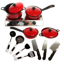 toy play kitchen sets 2019 - Wholesale- 11 Pcs Set Hot Sale Funny Children Mini Kitchen Cooking Toys Cookware Cook Pans Pots Dishes Play Toys Baby Ki