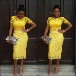 $enCountryForm.capitalKeyWord Canada - Tea-Length Evening Dresses 2016 New Sheath Yellow Lace Prom Dress Half Sleeve Sheer Jewel Neckline Plus Size Special Occasion Gowns